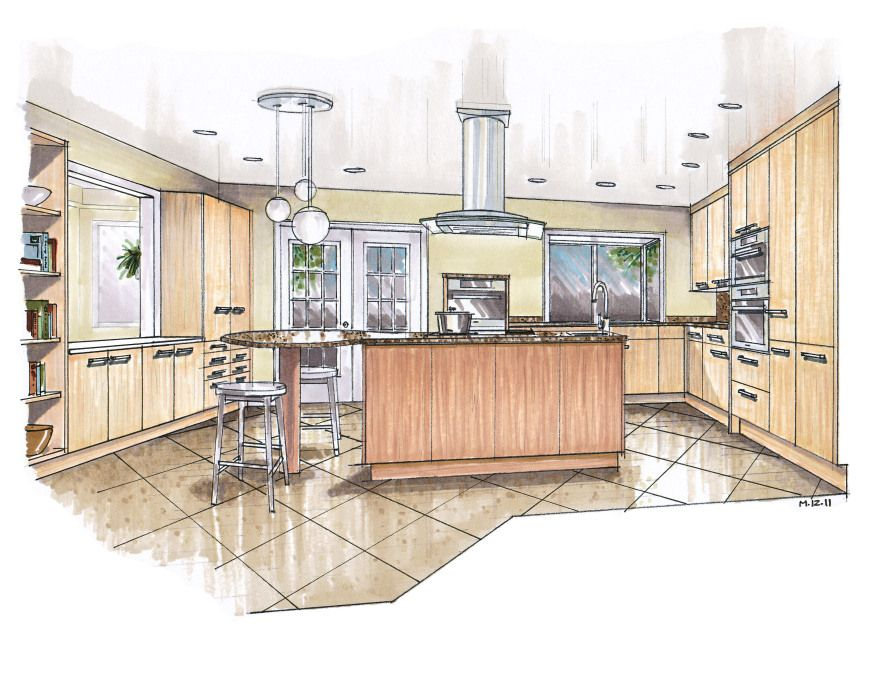 Hand Drawn Marker Rendering Of Kitchen By Mick Ricereto