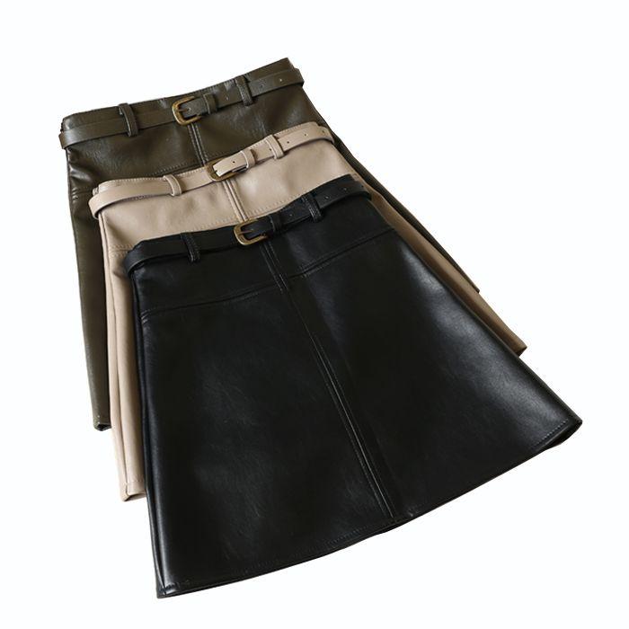 d77fc04a4e Encontrar Más Faldas Información acerca de Alta calidad falda de cuero 2018  Otoño Invierno versión coreana