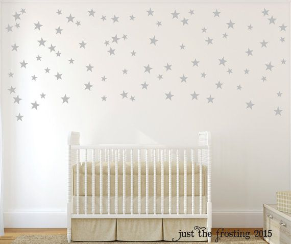 silver star wall decals - confetti star decals set of 140 - silver