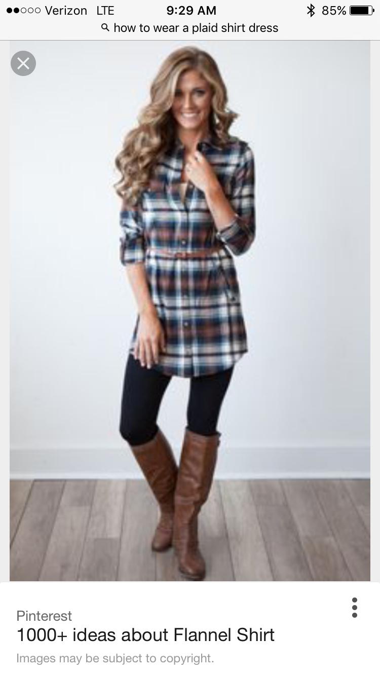 Flannel shirt ideas  SF Stylist  I love this cute dress and leggings mix  Ideas