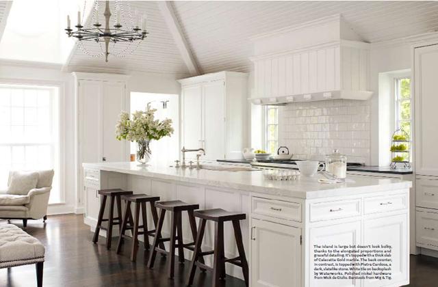 Classic + contemporary kitchen .  White + walnut + marble.