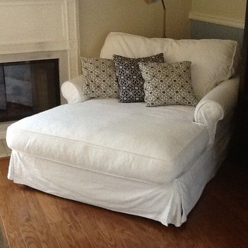Potterybarn Sofa U Love Chaise Chair Couch Slipcover White Cotton