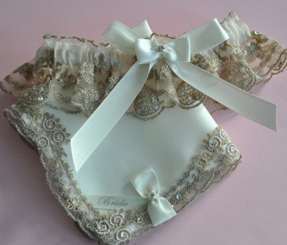 Regal  Lace Bride Garter Set in Candle and Champagne by GarterLady, $69.00