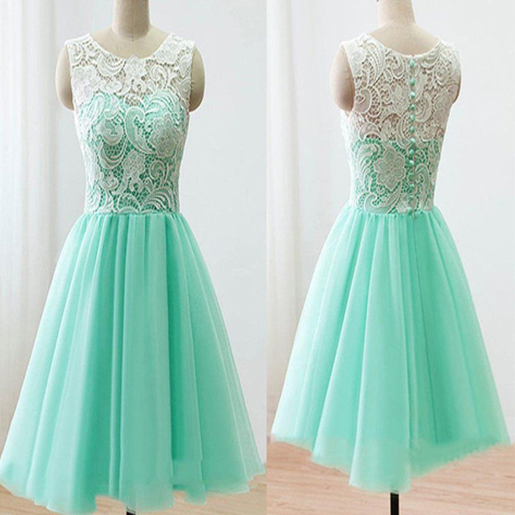 2016 mint lace lovely simple elegant homecoming prom bridesmaid ...