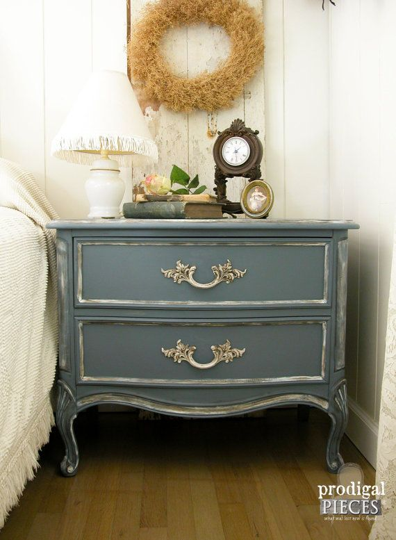Vintage Blue French Provincial Serpentine Dubarry Dixie Nighstand Side Table Shabby Chic Country