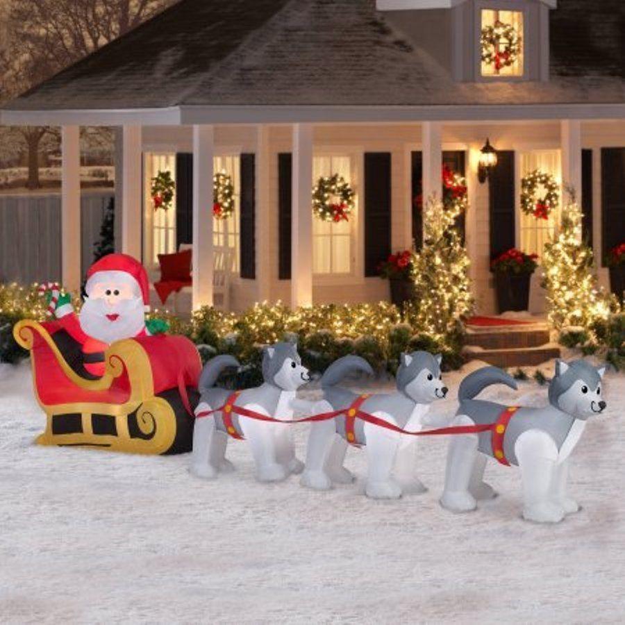 Airblown Inflatable Santa  Dogsled Scene 125 Christmas