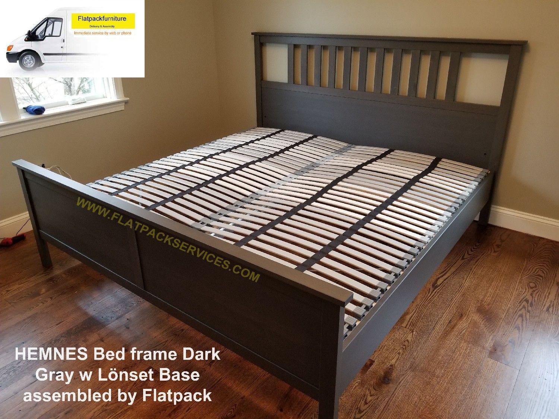 Hemnes Bed Frame Dark Gray Lonset Base Article Number 392 406 50