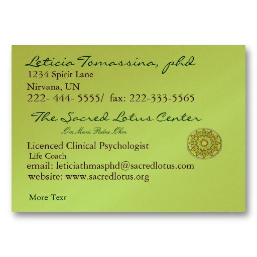 Green Mandala New Age Professional Profile Card Business Card - professional profile