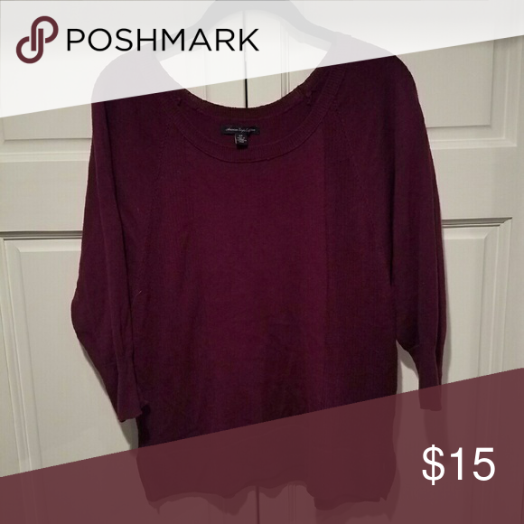 American Eagle 3/4 length sleeve sweater Size small, Deep purple ...