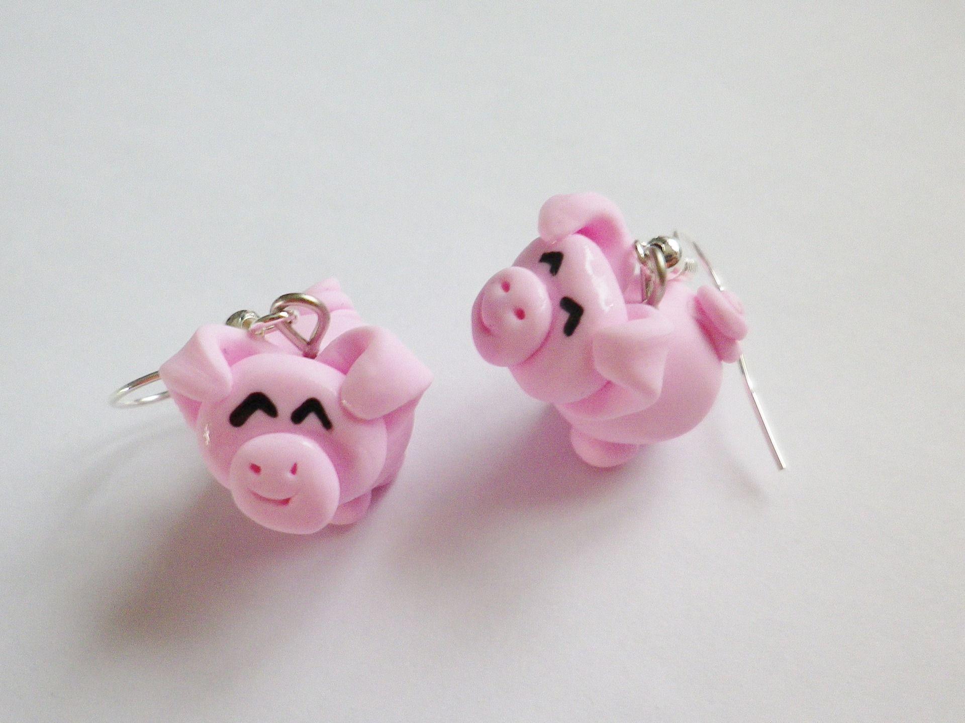 boucle d oreille cochon rose yeux kawaii en pate fimo rigolo boucles d 39 oreille par fimo relie. Black Bedroom Furniture Sets. Home Design Ideas