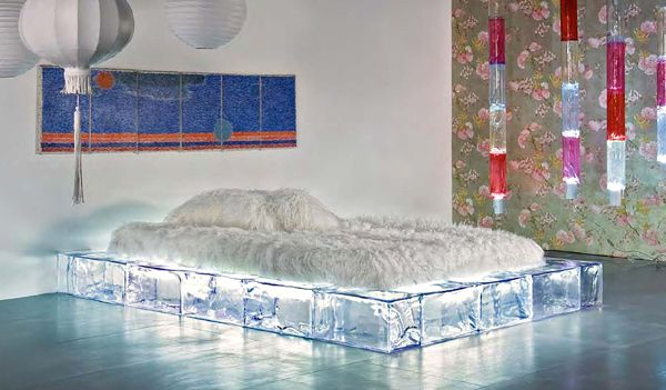 The Geo Bed by Gigi Rigamonti is a clear plastic frame made to look like ice.