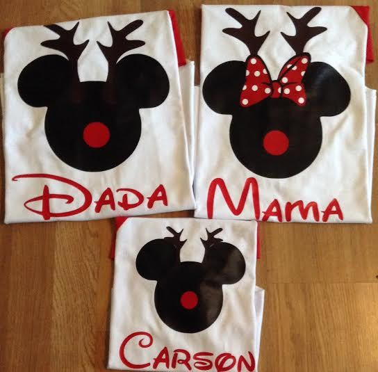 Reindeer Mickey and Minnie Family Set of 3. This item comes with 3 shirts . This set can be personalized for FREE name and or date only.    SIZE