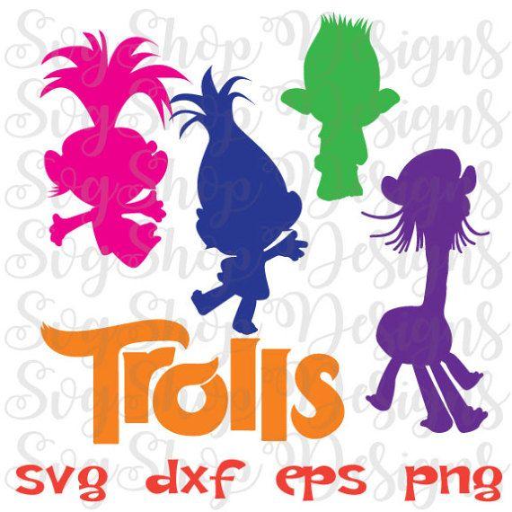 Instant Download Svg Trolls Trolls Movie Dxf By Svgshopdesigns Trolls Birthday Party Cartoon Silhouette Trolls Birthday