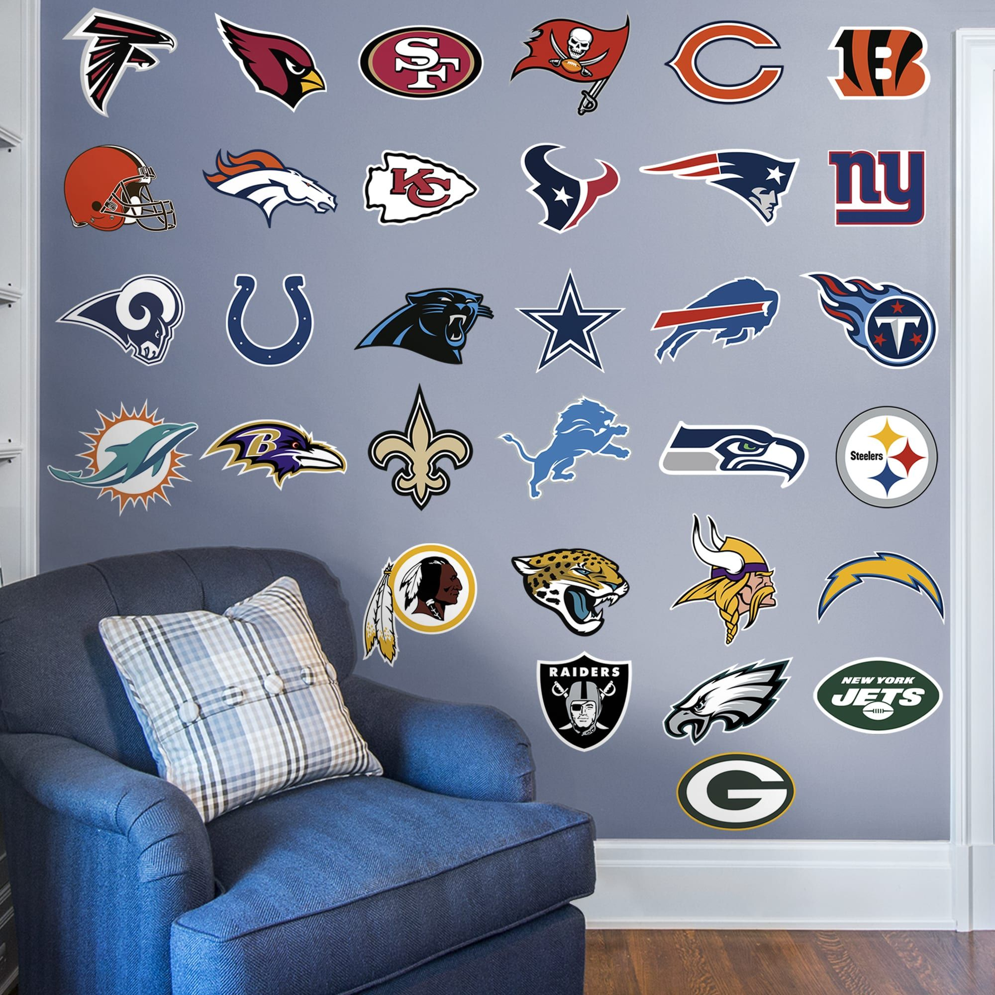 nfl team logo collection large officially licensed on wall logo decal id=49515