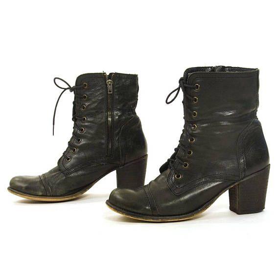 5321bec1c 90s Black Leather Lace Up Ankle Boots / Vintage 1990s Steve Madden ...