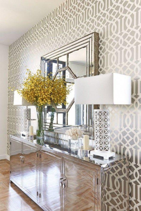 26 Hallway Wallpaper Decorating Ideas Wallpaper Living Room Chic Living Room Living Decor