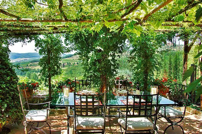 Under Our Pergola Tuscan Style Decorating