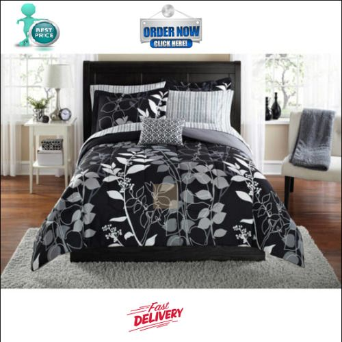 Black Grey Floral Comforter Set Bedding Bedspread Sheets Bed In A