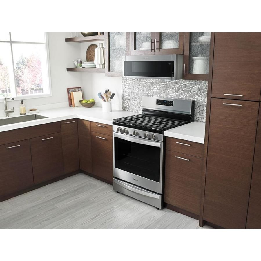Https Www Lowes Com Pd Whirlpool Low Profile 1 1 Cu Ft Over The Range Microwave Stainless Steel Co Microwave Hood White Modern Kitchen Oven Cabinet
