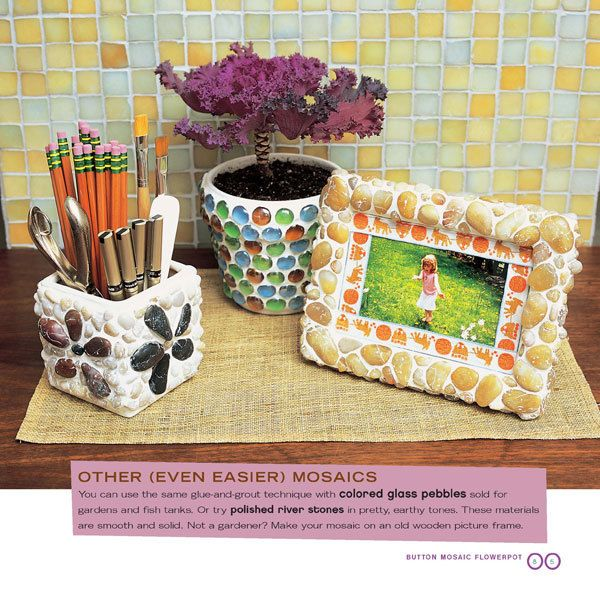 Mosaic Picture Frames and Pots from Alternacrafts by Jessica Vitkus