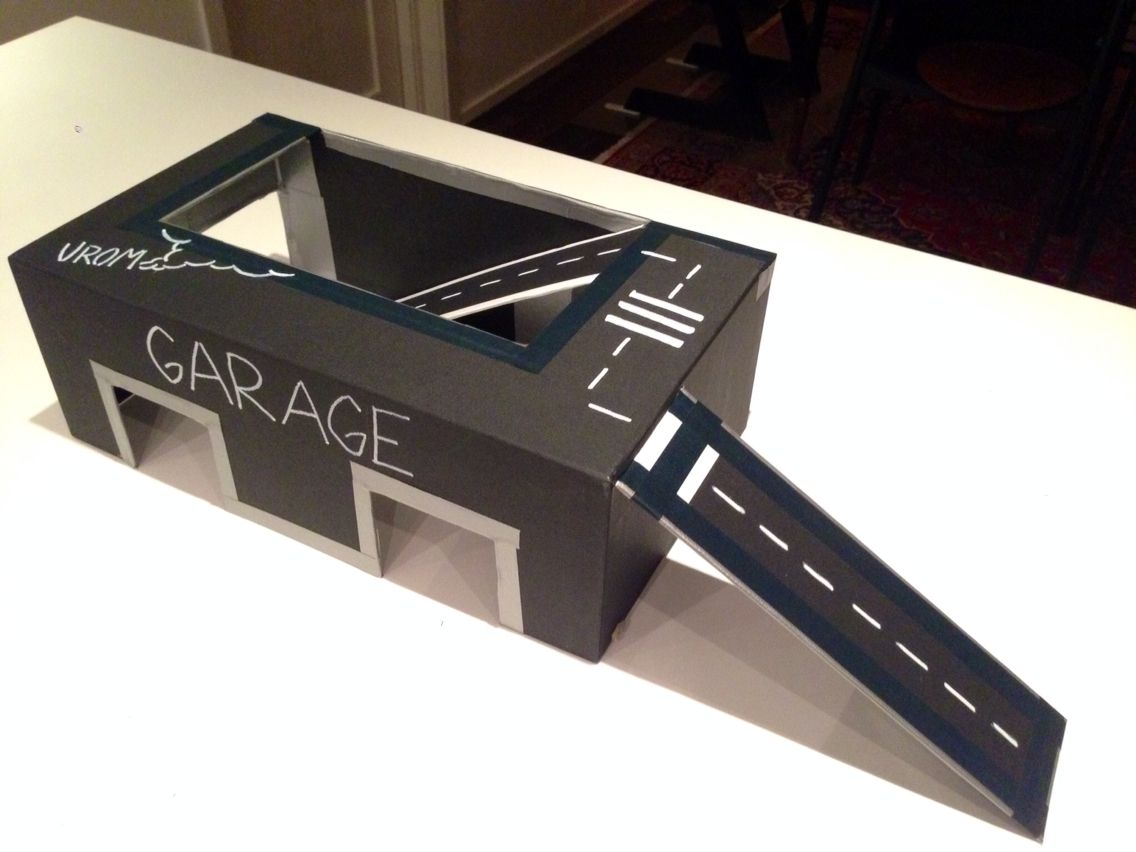 I Made This Garage And Car Track Out Of A Shoe Box Really
