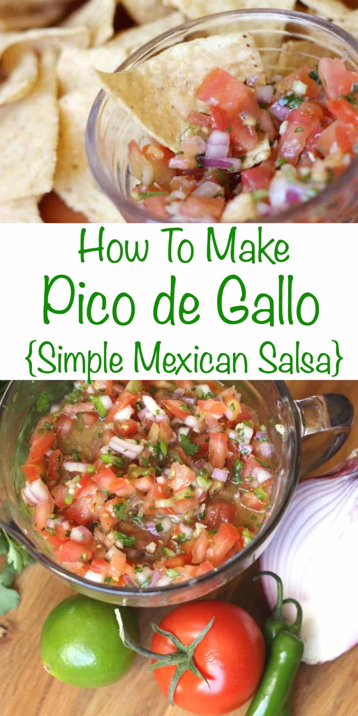 How To Make Pico De Gallo (simple Mexican salsa) - get the recipe at barefeetinthekitchen.com #picodegallorecipes