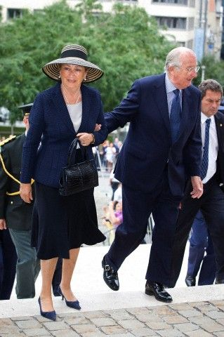 King Albert and Queen Paola of Belgium arrives for a mass to commemorate the death of King Baudouin 20 years ago at the Cathedral in Brussels, Belgium, 31 July 2013.