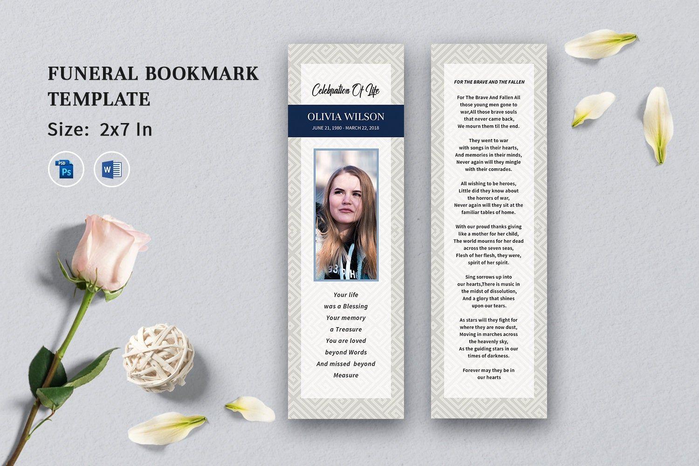 Funeral Bookmark Template Memorial Bookmark Printable Etsy Bookmark Template Funeral Program Template Templates