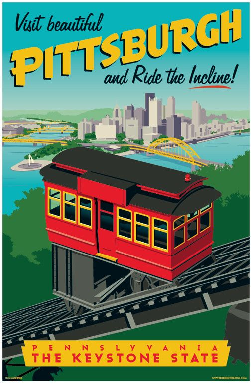 Vintage Style Pittsburgh Incline Travel Poster By Redrobotcreative Travel Posters Retro Travel Poster Tourism Poster