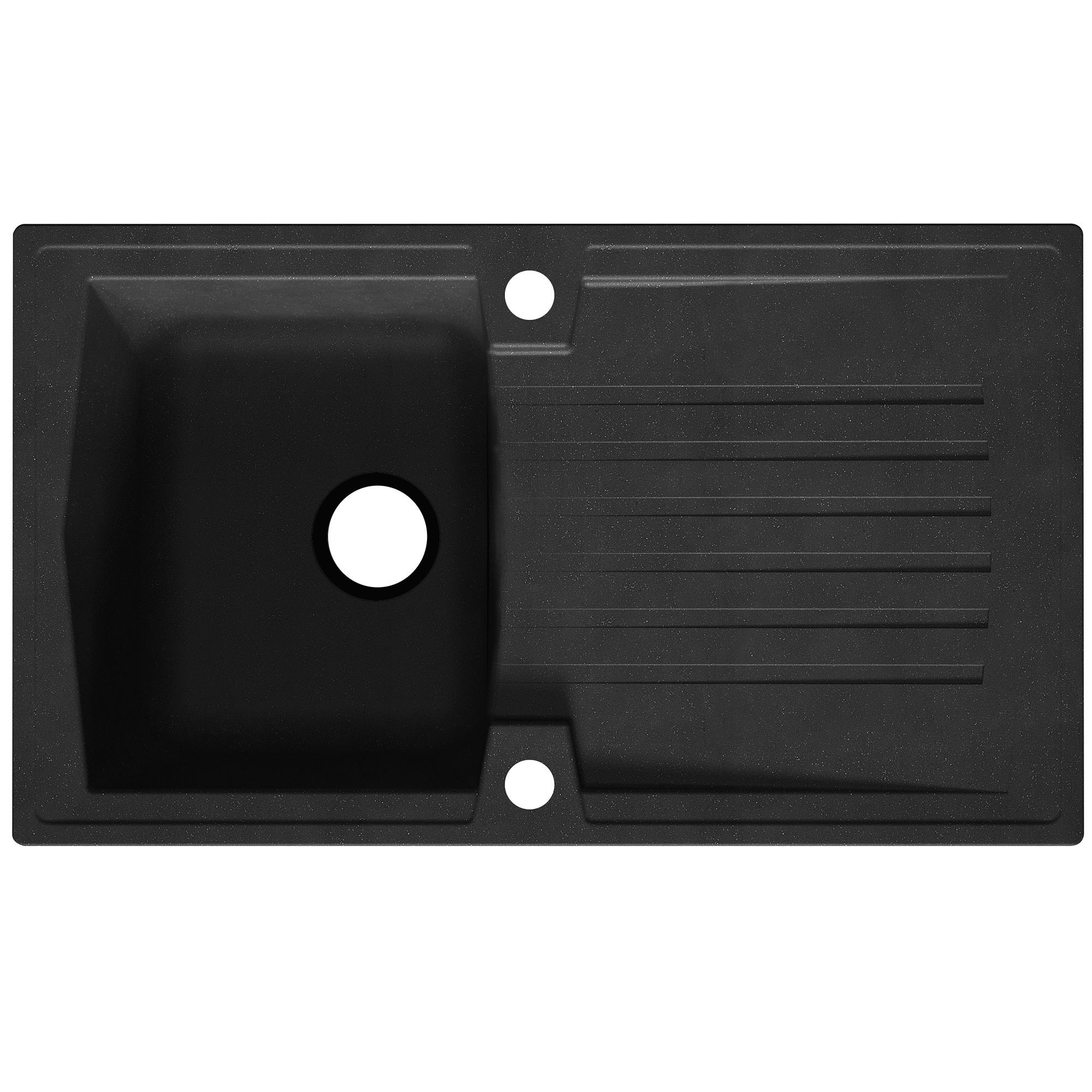 Cooke & Lewis Deluc 1 Bowl Black Resin Kitchen Sink with Reversible ...