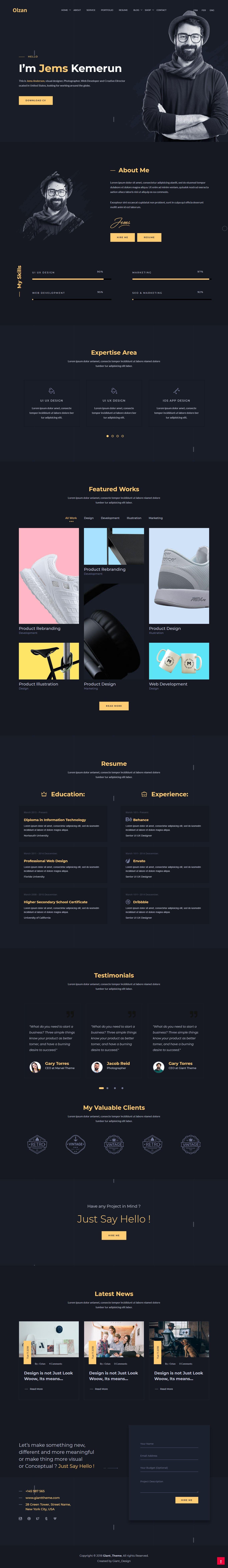 Ozlan A Creative Minimal Portfolio WordPress Theme for