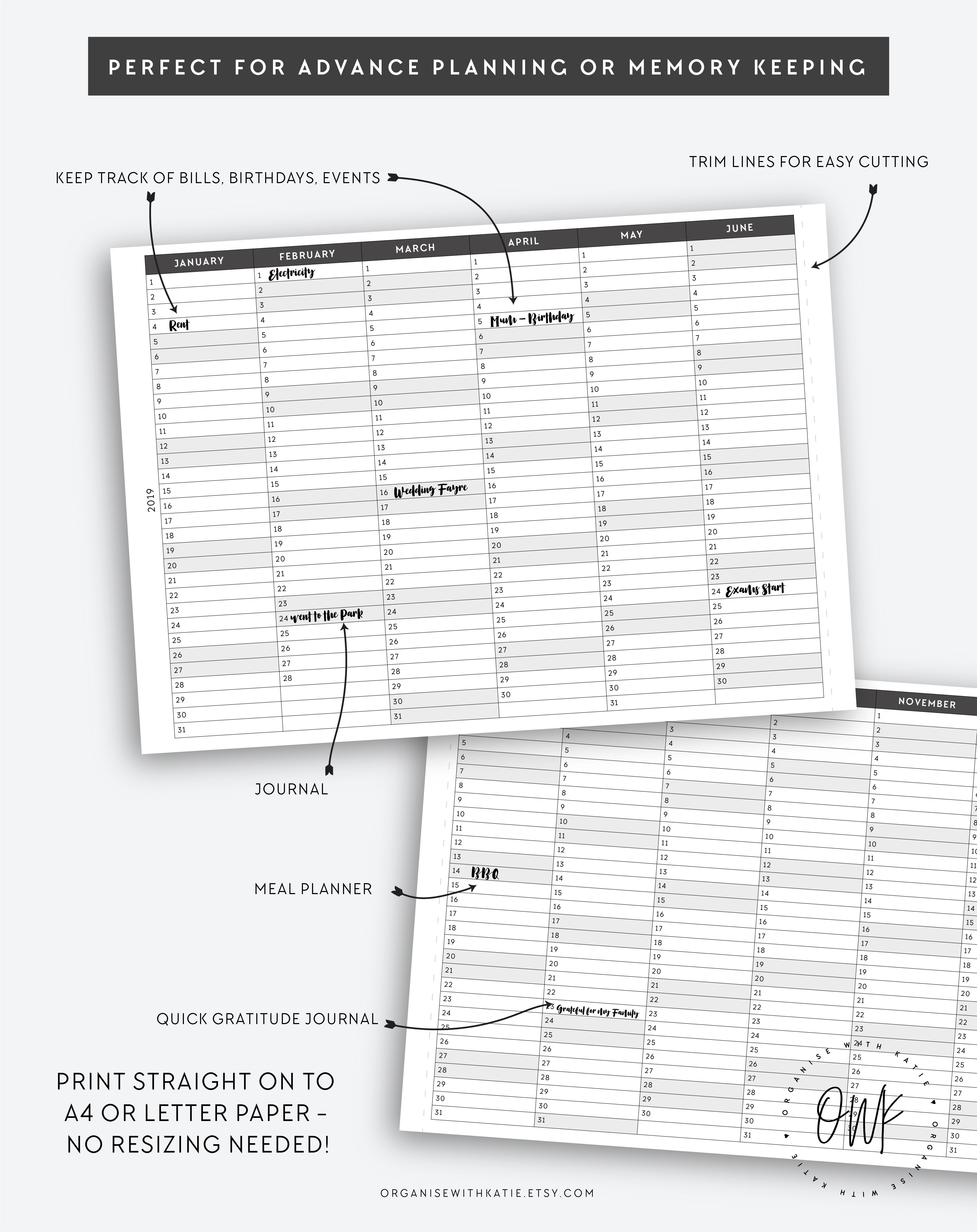A5 2019 2020 2021 2022 2023 1 Year Planner Fold Out Overview