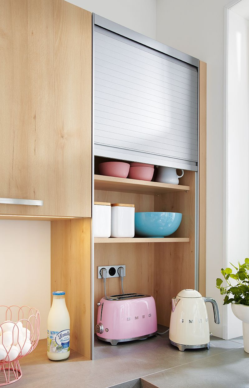Clever Kitchen Storage Solutions Handy Unit With Roller Shutter To Make Everything Disappear Ger Kitchen Shutters Clever Kitchen Storage Kitchen Room Design