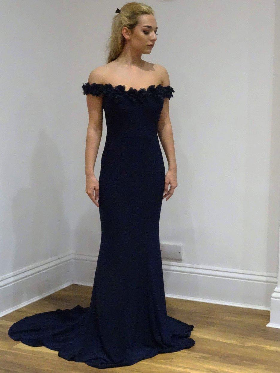 bc0fe3402b Off the Shoulder Prom Dresses Appliqued Navy Blue Mermaid Formal ...