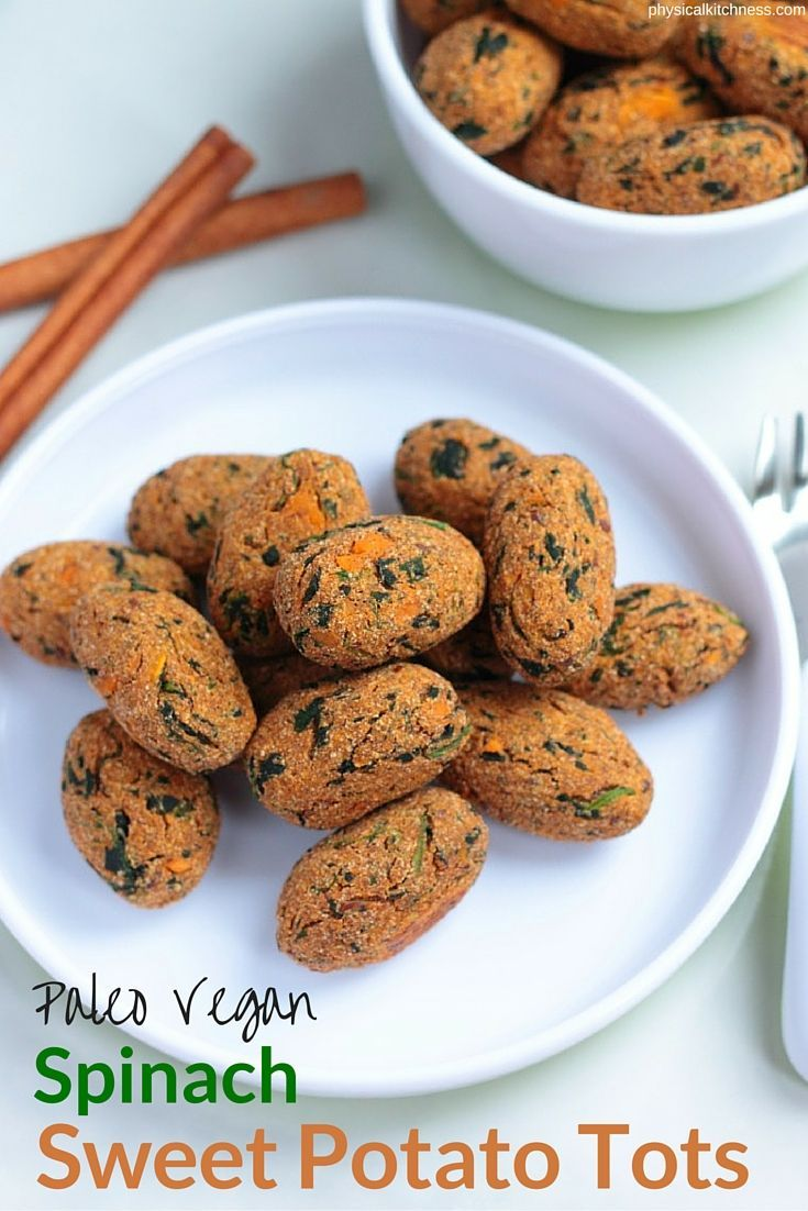 These vitamin-packed spinach sweet potato tots are the perfect snack for babies, toddlers, and kids! Eggless, dairy-free, and gluten-free, these paleo and vegan tots are easy and tasty. A great choice for baby led weaning