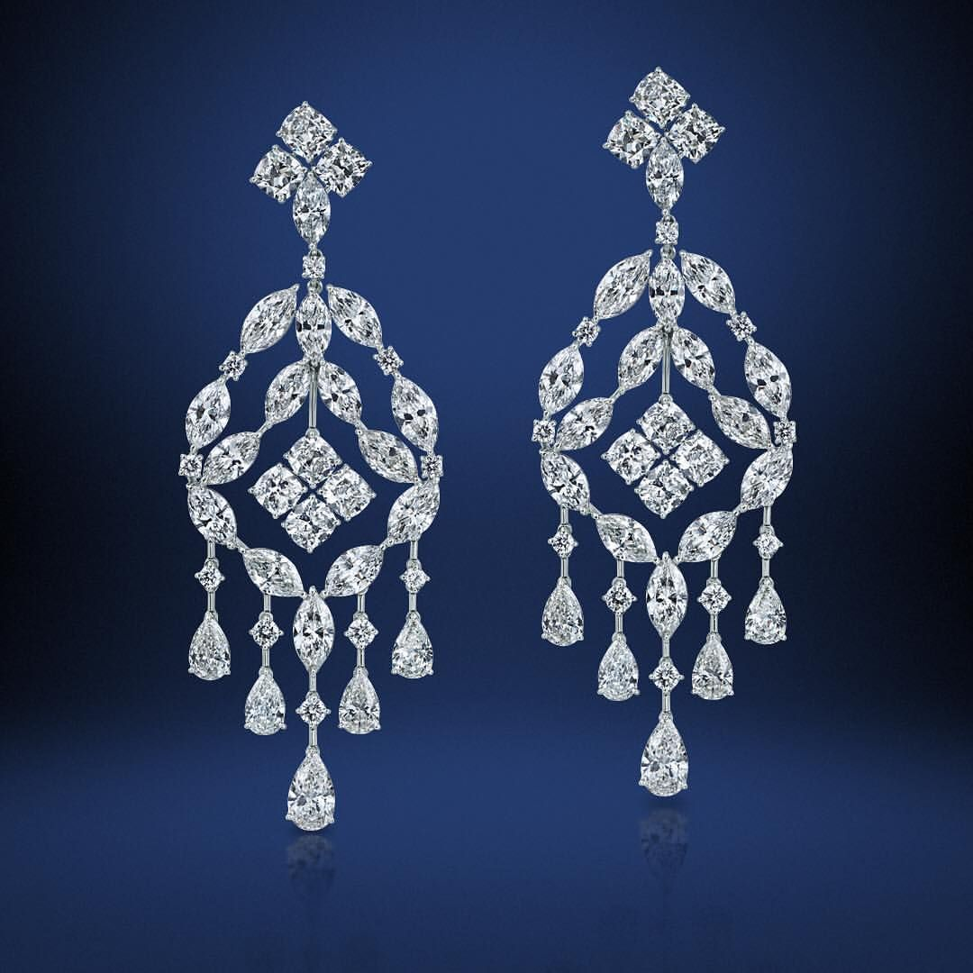 Fancy Shape Victoria Chandelier Diamond Earrings