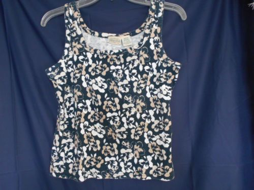 St. John's Bay Blue / White / Beige Floral Tank Top Size Med. 100% Cotton $9.00