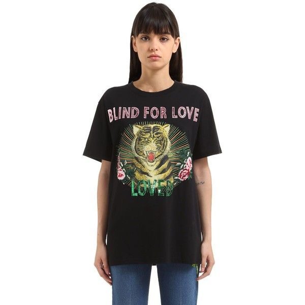 1302bce5506 Gucci Women Tiger Print & Sequins Jersey T-shirt ($1,020) ❤ liked on Polyvore  featuring tops, t-shirts, black, gucci top, crewneck tee, gucci tee, ...