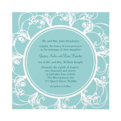 fancy floral wedding invitation turquoise wedding invites