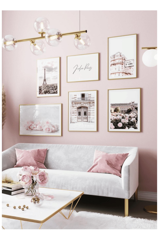 Paris Print Set Eloise In 2020 Pink Bedroom Walls Pink Living Room Pink Living Room Decor #pink #walls #in #living #room