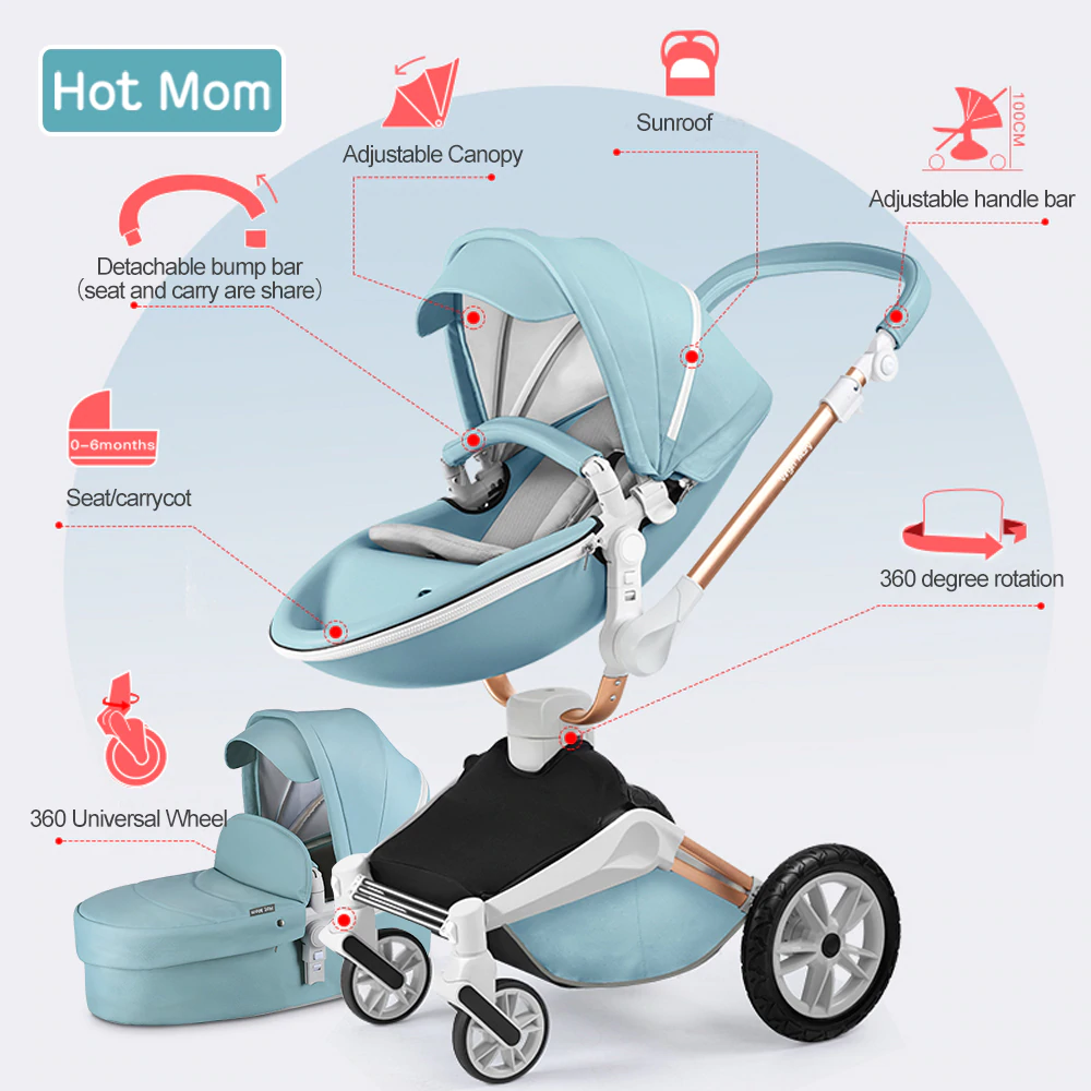 Baby Stroller Car Seat 3in1 Travel System Infant Carriage Buggy Bassinet Teal