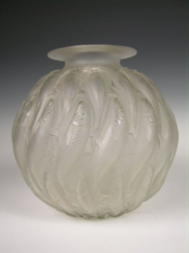 Rene Lalique Marisa Vase Decorated With Swimming On Lalique