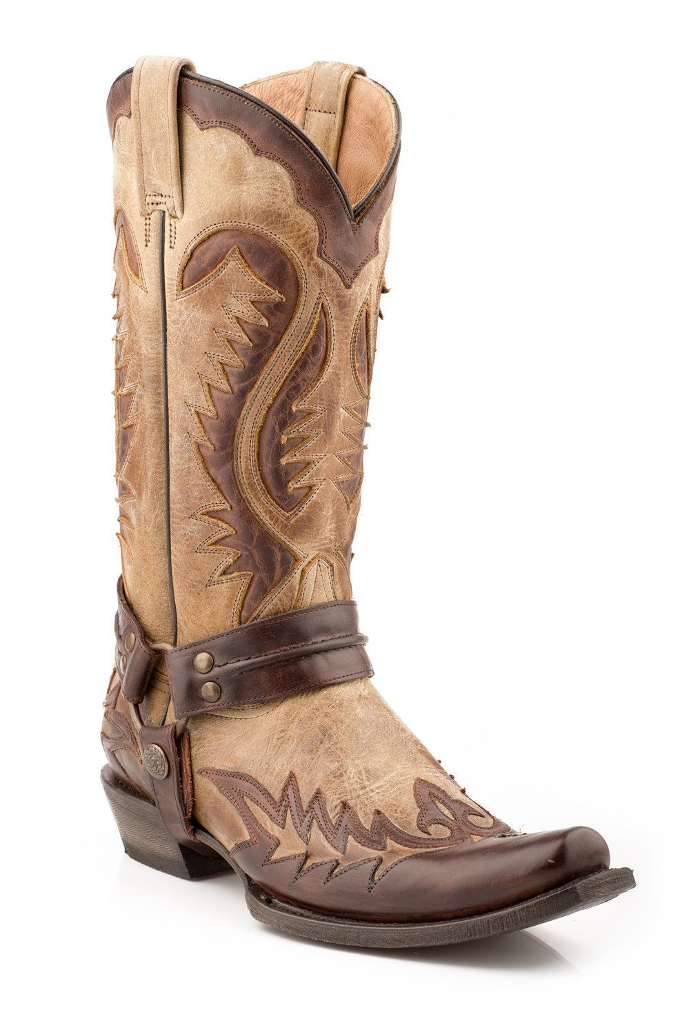97af2e8b75 Stetson Mens Cowboy Boots Brown Distressed Rocker Toe Harness Leather