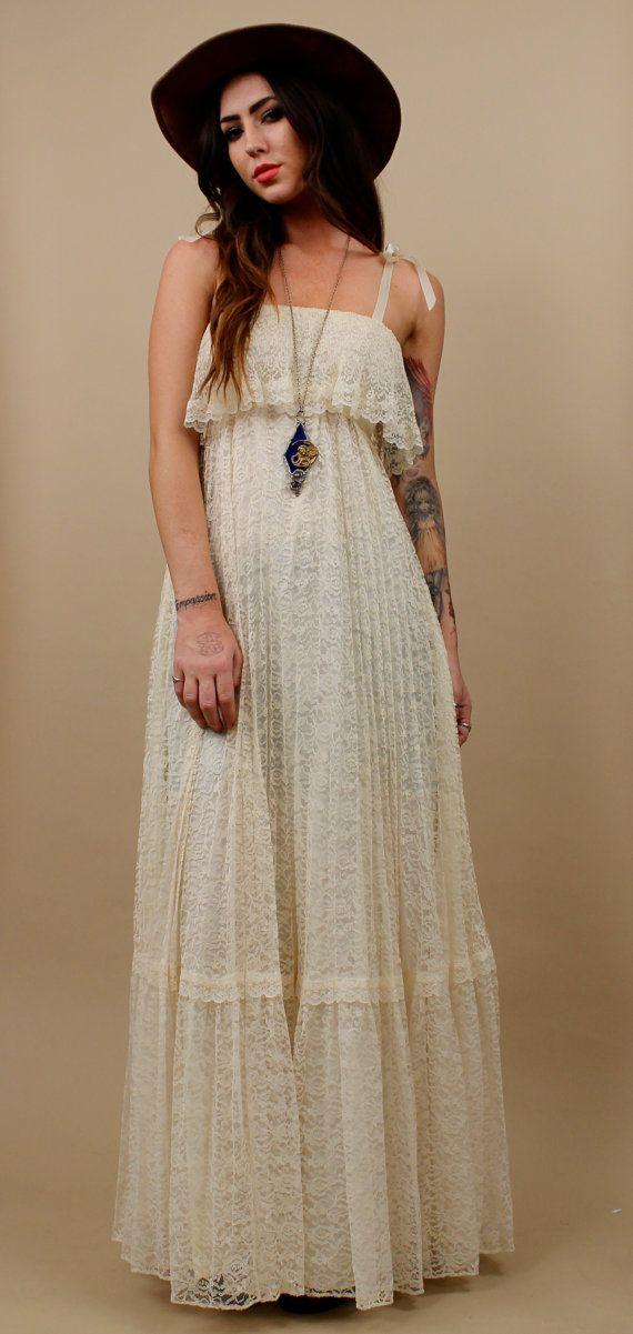 79ff7c706a4ab 70s Vtg LACE Cream MAXI Dress / Delicate Boho Flowing by nanometer, $281.00