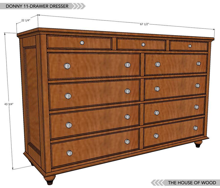 11 Drawer Dresser Plans Woodworking