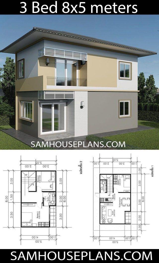 House Plans Idea 8x5m With 3 Bedrooms Sam House Plans Architectural House Plans House Construction Plan Affordable House Plans