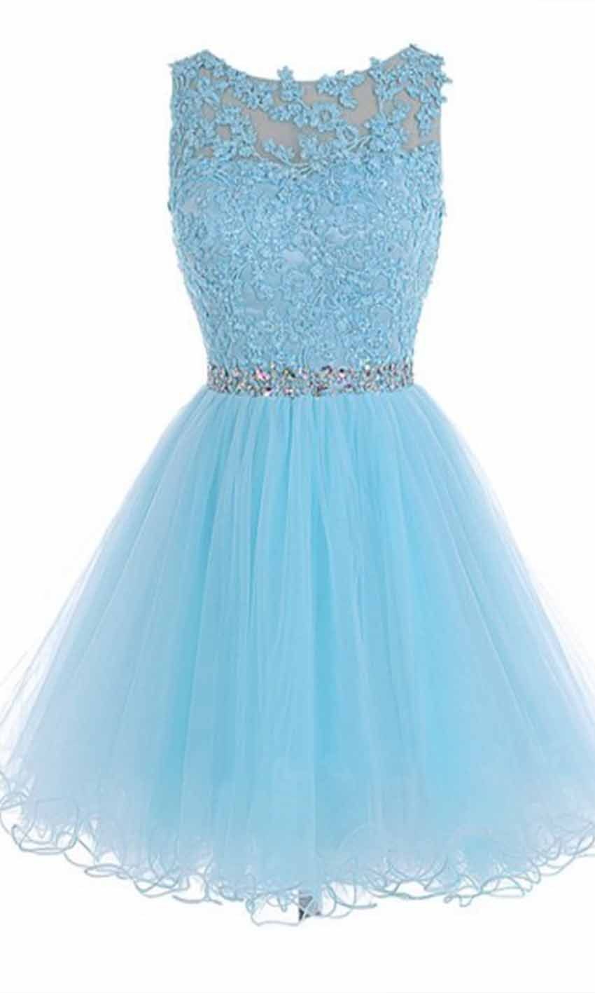 Sky Blue High Illusion Short Lace Prom Dresses KSP455 | dresses ...