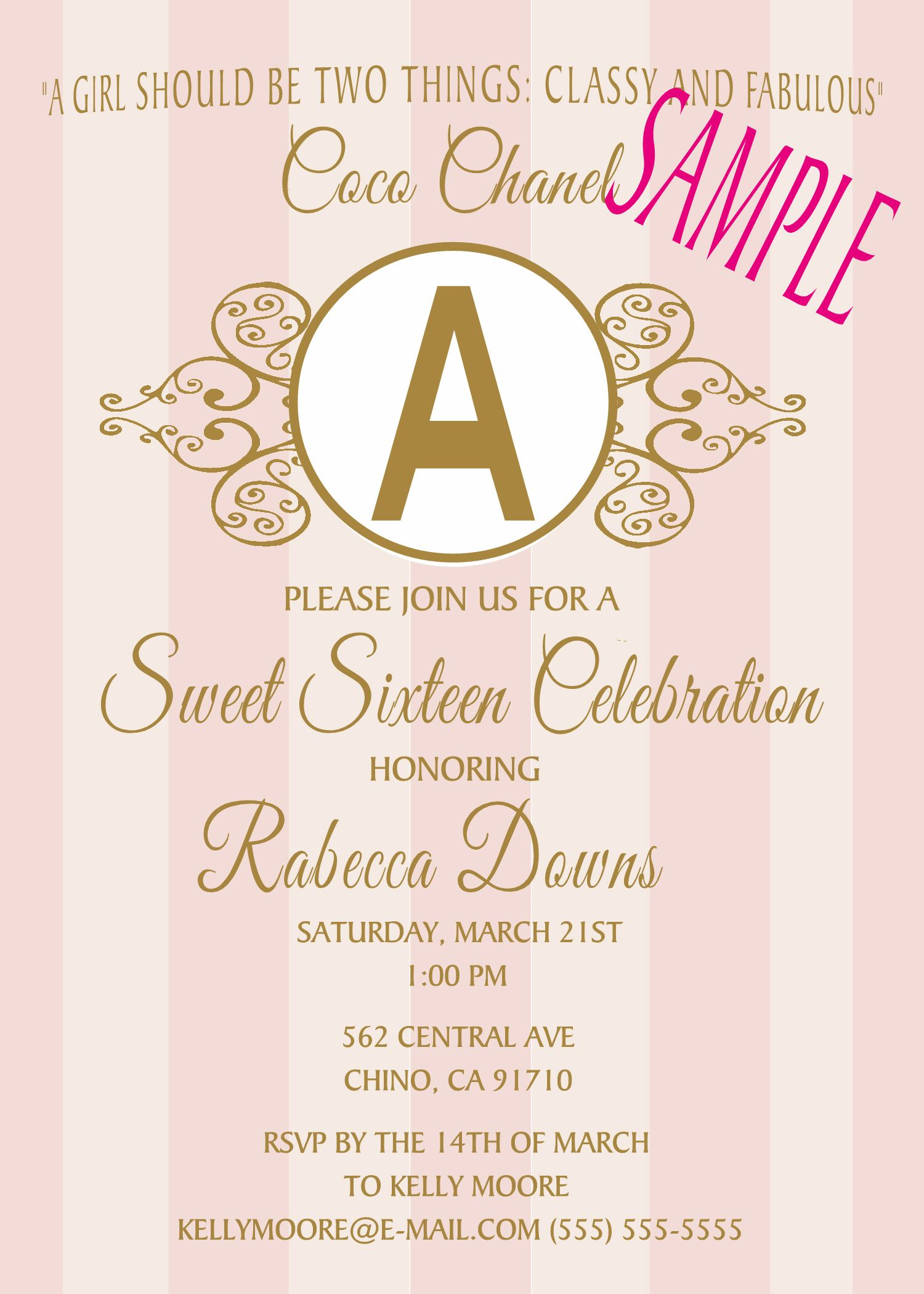 Sweet 16, coco chanel Birthday Invitation, Click on the image twice ...