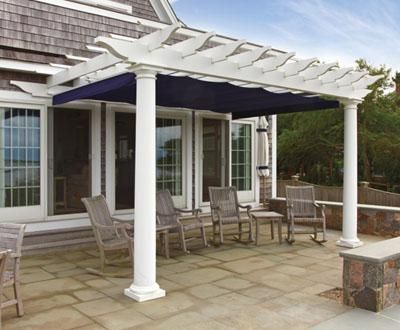 Attached PVC Pergola with Retractable Canopy by Walpole Outdoors & Attached PVC Pergola with Retractable Canopy by Walpole Outdoors ...