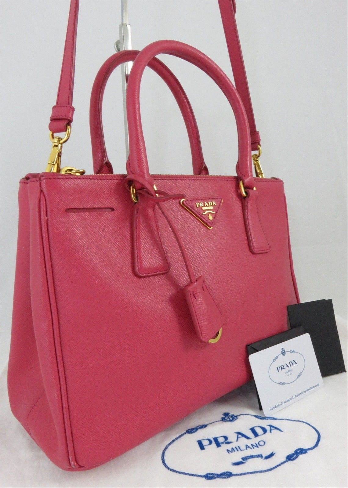 5bf8e231e4c2 Authentic PRADA Saffiano Pink Fuxia Leather Shoulder Bag Handbag ...